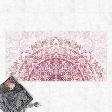 Vinyl-Teppich - Mandala Aquarell Ornament rot - Querformat 2:1