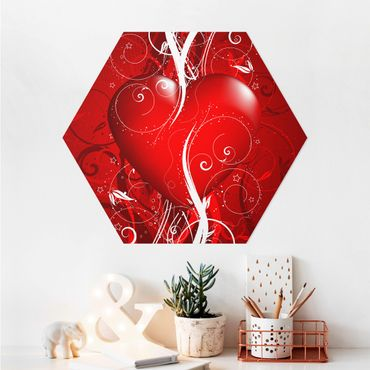 Hexagon Bild Alu-Dibond - Floral Heart