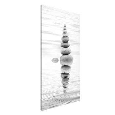 Magnettafel - Steinturm im Wasser Schwarz-Weiß - Memoboard Hochformat 4:3