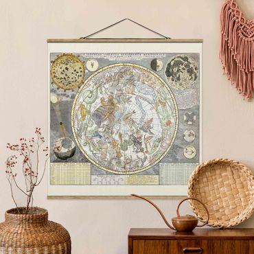 Stoffbild mit Posterleisten - Vintage Antike Sternenkarte - Quadrat 1:1