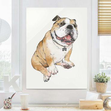 Glasbild - Illustration Hund Bulldogge Malerei - Hochformat 4:3