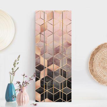 Holzbild - Elisabeth Fredriksson - Rosa Grau goldene Geometrie - Hochformat 5:2