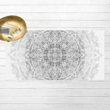 Vinyl-Teppich - Mandala Aquarell Ornament Muster schwarz weiß - Querformat 2:1