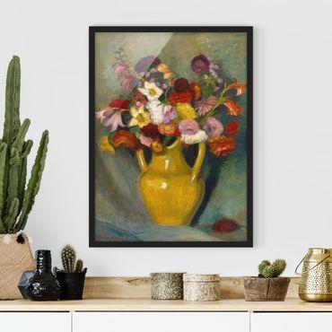 Bild mit Rahmen - Otto Modersohn - Bunter Blumenstrauß - Hochformat 3:4