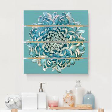 Holzbild - Blaue Chrysantheme - Quadrat 1:1