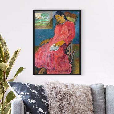 Bild mit Rahmen - Paul Gauguin - Melancholikerin - Hochformat 3:4
