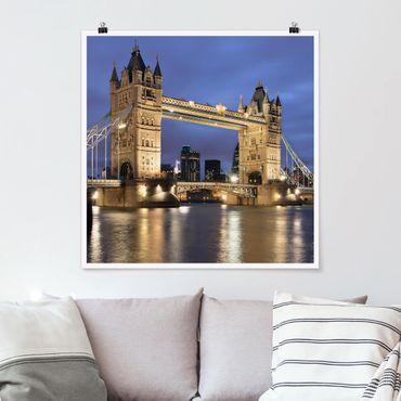 Poster - Tower Brücke bei Nacht - Quadrat 1:1
