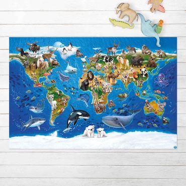 Vinyl-Teppich - Animal Club International - Weltkarte mit Tieren - Querformat 3:2
