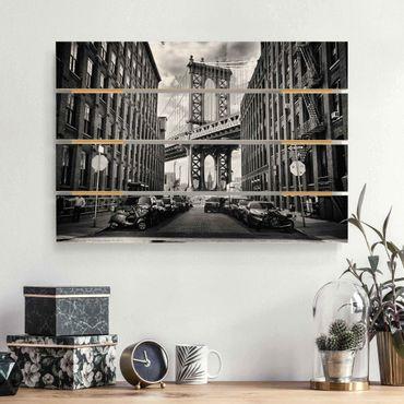 Holzbild - Manhattan Bridge in America - Querformat 2:3