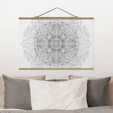 Stoffbild mit Posterleisten - Mandala Aquarell Ornament Muster schwarz weiß - Querformat 2:3