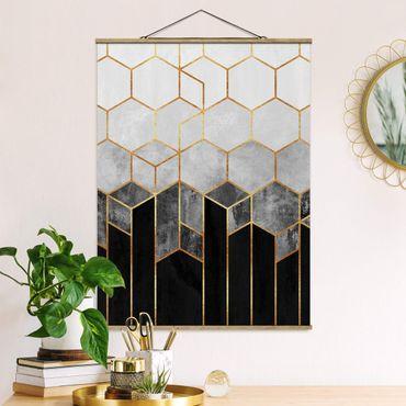 Stoffbild mit Posterleisten - Elisabeth Fredriksson - Goldene Sechsecke Schwarz Weiß - Hochformat 4:3
