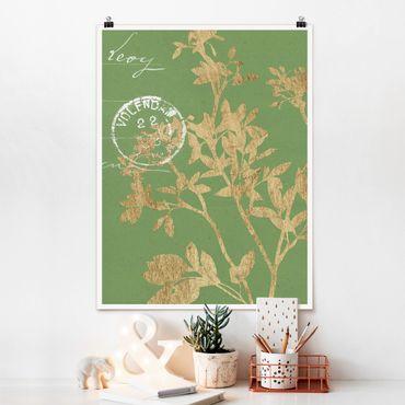 Poster - Goldene Blätter auf Lind II - Hochformat 3:4