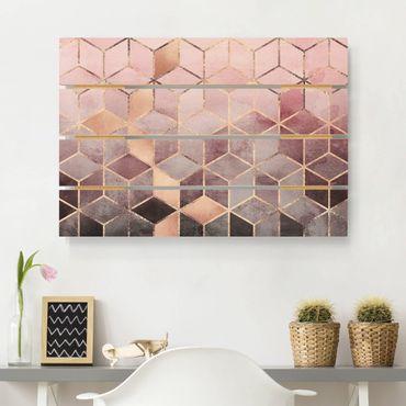 Holzbild - Elisabeth Fredriksson - Rosa Grau goldene Geometrie - Querformat 2:3