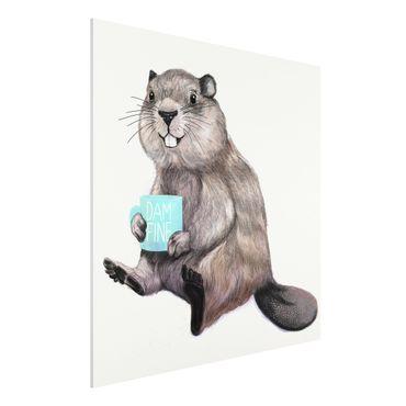 Forex Fine Art Print - Illustration Biber mit Kaffeetasse - Quadrat 1:1