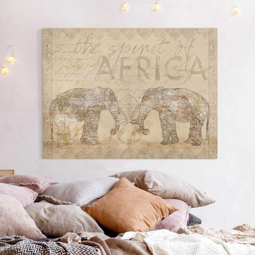 Leinwandbild - Vintage Collage - Spirit of Africa - Querformat 3:4