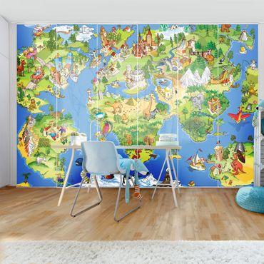 Schiebegardinen Set - Great and funny Worldmap - Flächenvorhänge