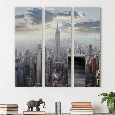 Leinwandbild 3-teilig - Sonnenaufgang in New York - Panoramen hoch 1:3