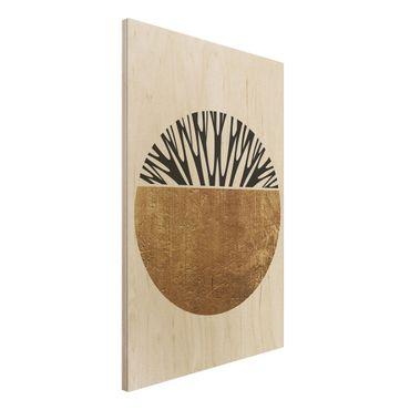 Holzbild - Abstrakte Formen - Goldener Kreis - Hochformat 3:2