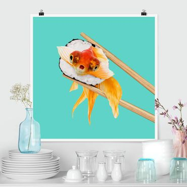 Poster - Jonas Loose - Sushi mit Goldfisch - Quadrat 1:1