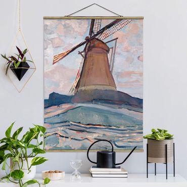 Stoffbild mit Posterleisten - Piet Mondrian - Windmühle - Hochformat 4:3