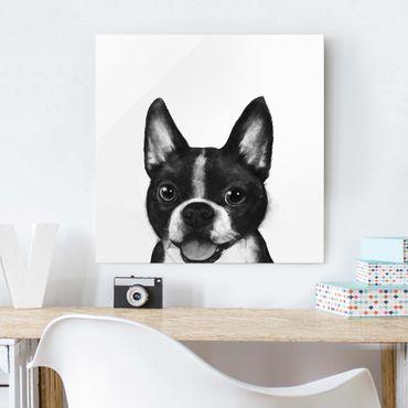 Glasbild - Illustration Hund Boston Schwarz Weiß Malerei - Quadrat 1:1
