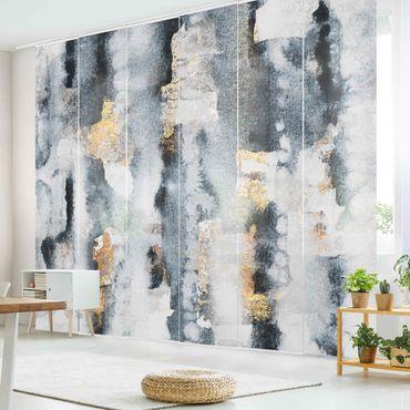 Schiebegardinen Set - Elisabeth Fredriksson - Abstraktes Aquarell mit Gold - 6 Flächenvorhänge