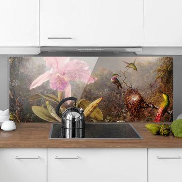 Spritzschutz Glas - Martin Johnson Heade - Orchidee und drei Kolibris - Panorama