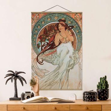 Stoffbild mit Posterleisten - Alfons Mucha - Vier Künste - Die Musik - Hochformat 2:3