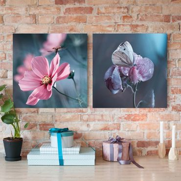 Leinwandbild 2-teilig - Schmetterling und Marienkäfer auf Blüten - Quadrate 1:1