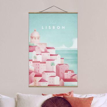 Stoffbild mit Posterleisten - Reiseposter - Lissabon - Hochformat 3:2