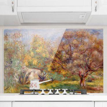 Spritzschutz Glas - Auguste Renoir - Garten mit Olivenbäumen - Querformat 2:3