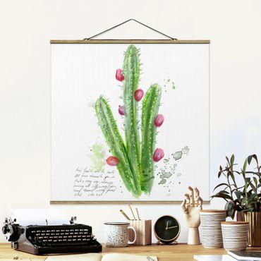 Stoffbild mit Posterleisten - Kaktus mit Bibelvers II - Quadrat 1:1