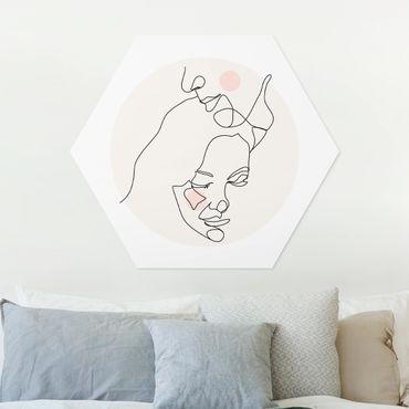 Hexagon Bild Forex - Zärtliches Paar Line Art
