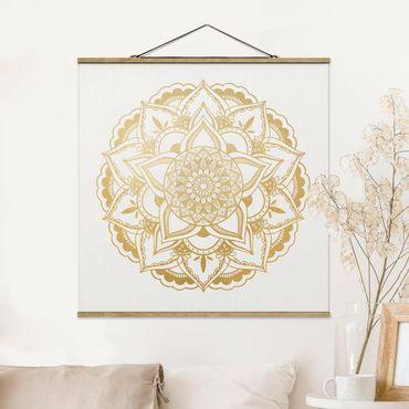Stoffbild mit Posterleisten - Mandala Blume gold weiß - Quadrat 1:1