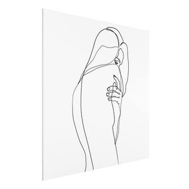 Forex Fine Art Print - Line Art Frauenakt Schulter Schwarz Weiß - Quadrat 1:1