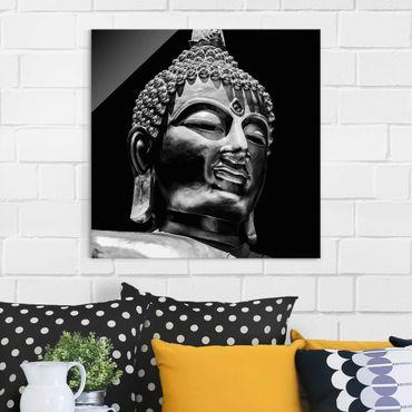 Glasbild - Buddha Statue Gesicht - Quadrat 1:1