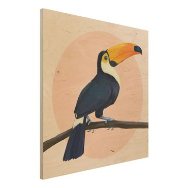 Holzbild - Illustration Vogel Tukan Malerei Pastell - Quadrat 1:1
