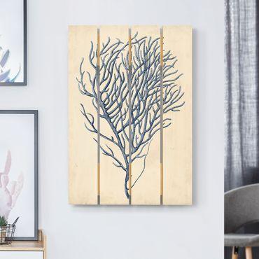 Holzbild - Indigo Koralle III - Hochformat 3:2
