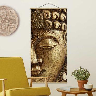 Stoffbild mit Posterleisten - Vintage Buddha - Hochformat 1:2
