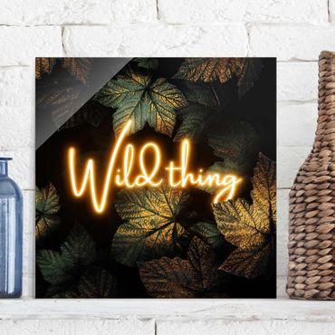 Glasbild - Wild Thing goldene Blätter - Quadrat 1:1