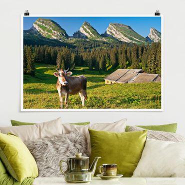 Poster - Schweizer Almwiese mit Kuh - Querformat 2:3