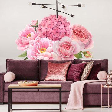 Wandtattoo - Aquarell Hortensie Rose Bouquet XXL