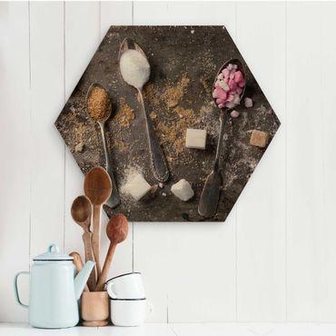 Hexagon Bild Holz - Vintage Löffel mit Zucker