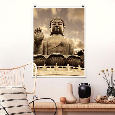 Poster - Großer Buddha Sepia - Hochformat 3:4