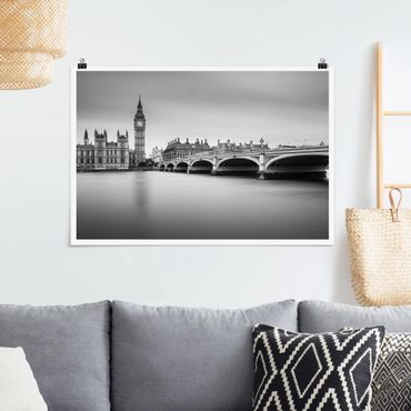 Poster - Westminster Brücke und Big Ben - Querformat 2:3