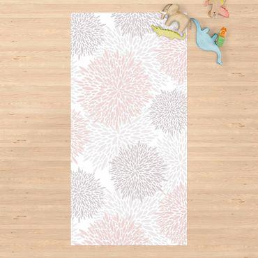 Vinyl-Teppich - Große gezeichnete Pusteblumen in Rosa - Hochformat 1:2