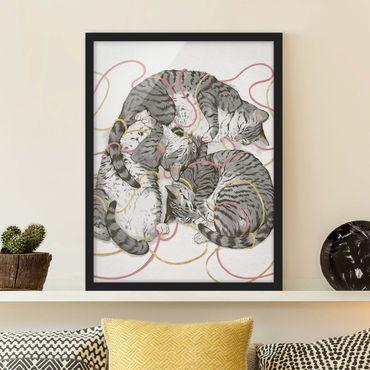 Bild mit Rahmen - Illustration Graue Katzen Malerei - Hochformat 4:3