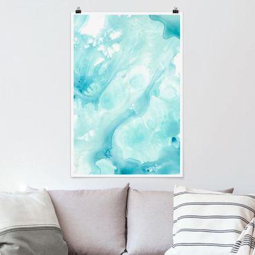 Poster - Emulsion in weiß und türkis I - Hochformat 3:2