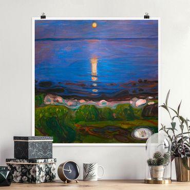 Poster - Edvard Munch - Sommernacht am Meeresstrand - Quadrat 1:1