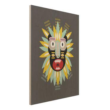 Holzbild - Collage Ethno Maske - King Kong - Hochformat 4:3